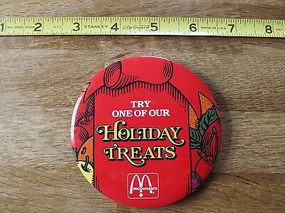 """McDonald's 3.5 inch another RARE """"Try One of Our Holiday Treats""""  Pin. Excellent"""