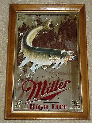 MILLER BEER 1st Edition MUSKIE FISH Hunting Fishing MIRROR (Nice+)