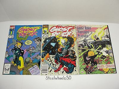Ghost Rider 3 Comic Lot Marvel 1990 #2 24 Hearts Of Darkness Wolverine Punisher