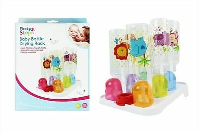 First Steps Baby Bottle Drying Rack Hold Up to 9 Bottles Caps & Teats