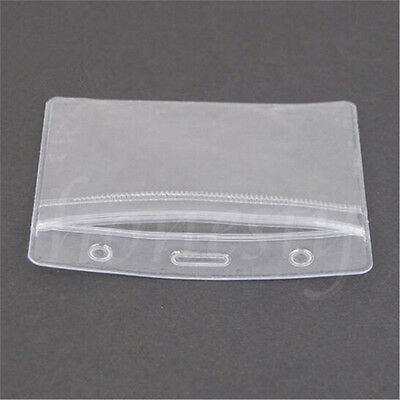 5/10x Clear Vertical ID Badge Card Plastic Waterproof Pocket Holder Pouches