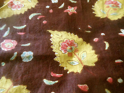Antique French Provencial Block Paisley Floral Cotton Fabric ~ Brown Mustard