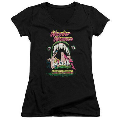 Wonder Woman Comic Cover JAWS OF THE LEVIATHAN Juniors V-Neck Tee Shirt