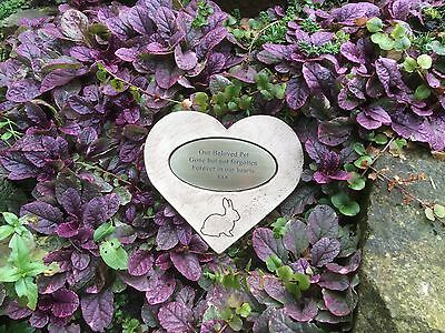 Rabbit Personalised Memorial Stone Heart and Oval Plaque Antique Gold  Garden