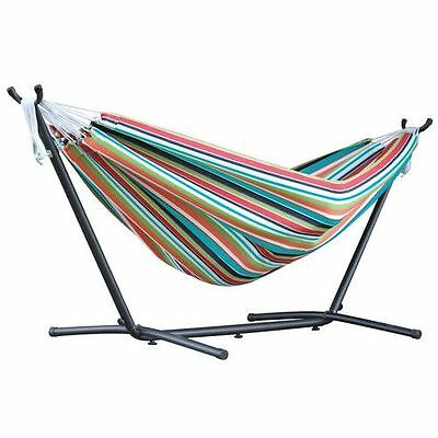 Double Hammock with Stand Red Stripes Hanging Bed Portable and Durable Furniture