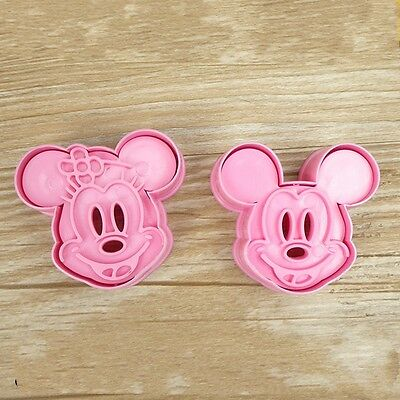 Minnie & Mickey Mouse Cookie Cutter Baking Stencil Mould Set of 2 U.K