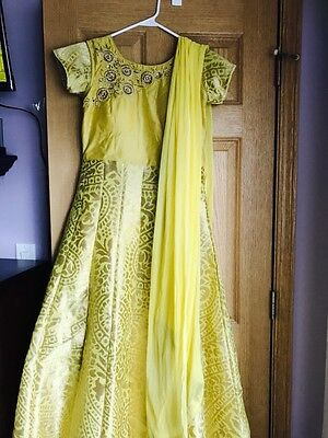 Indian Designer Bollywood Fancy Party Yellow Color Long dress Gown