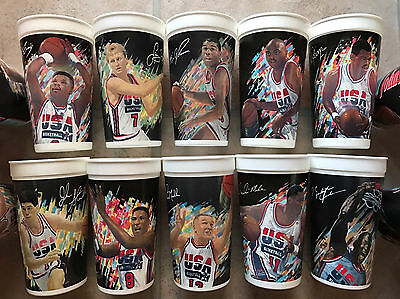 Original Dream Team ('92) NBA Olympics McDonalds Collectible Cups FULL set - EUC