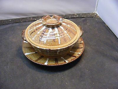 Vintage Studio Hand Thrown Pottery-Japanese Covered Bowl  - Vintage Donabe