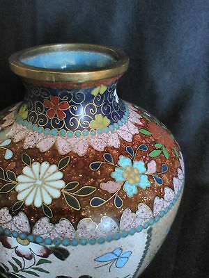 """Japanese Cloisonne Goldstone Vase 5"""" h, 4 panel, aprox 1885, Exelent Conditition"""