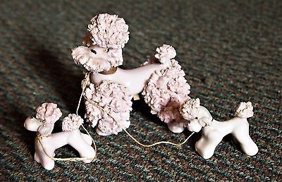 Vtg Set 3 SPAGHETTI POODLES Mom w/2 Puppies Chained Light Pink & Very Cute 1950s