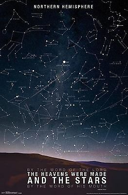 Star Northern Hemisphere Educational Chart Astronomy Galaxy Sky Constellations