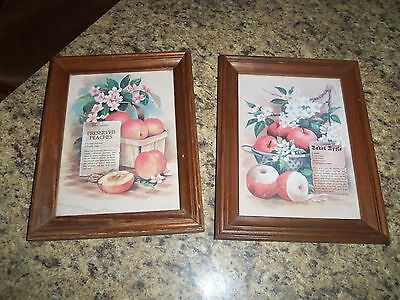 2 vntg home interiors baked apple & preserved peaches wall decor/plaque