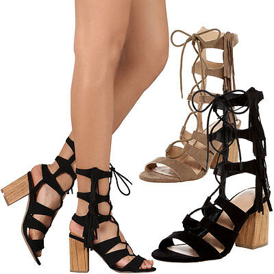 a8edeca6749 New Womens Strappy Lace Up Cage Cut-Out Gladiator Fringe Sandal Pump Chunky  Heel