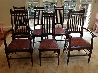 A set of Six English original Edwardian dining chairs including two carvers