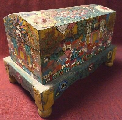 """Mexican Folk Art 17"""" Carved Wood Chest Baul Box Colonial Painted Church Village"""