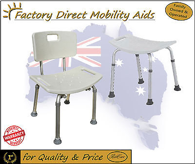 Aluminium Shower Chair / Stool Removable Back - Adjustable height! Free Freight