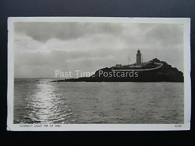 Cornwall GODREVY LIGHTHOUSE near St Ives 1950's RP Postcard by Photochrom