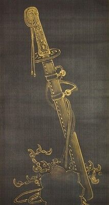 Hanging Scroll Japanese Painting Golden sword Japan Asian Antique Picture a962