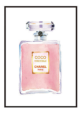 COCO Chanel Watercolour Perfume Bottle Wall Print - Art Sizes 10 x 8, A4, A3