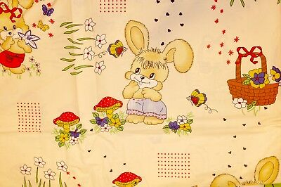 Fitted Sheet Single 100% Cotton rabbits 90x190x25 Cream