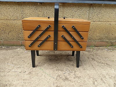 Vintage Retro 3 Tier Cantilever Sewing craft Box on Legs With Contents VGC