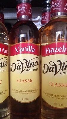 CHOOSE 2 x DaVinci Coffee Flavouring Syrup Gourmet 750ml (10 Flavours)