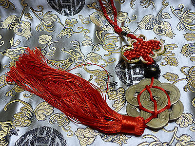Feng Shui Red Talisman Hanger Chinese Coins Wealth Prosperity Fortune Good Luck