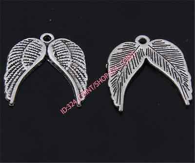 50pc Retro Tibetan Silver wings Charms Beads Pendant Jewellery Making P1419B