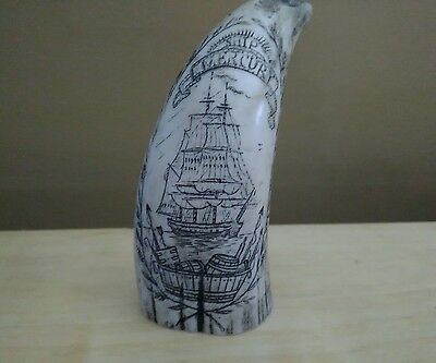 SCRIMSHAW REPLICA RESIN Sperm WHALE TOOTH The Ship Mercury