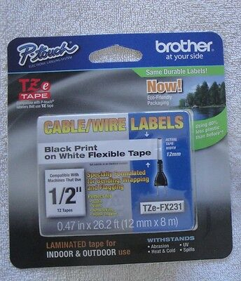"Brother P-Touch TZe-FX231 Label Tape TZE fx 231 cable wire 1/2"" x 26.2 12mm x 8m"