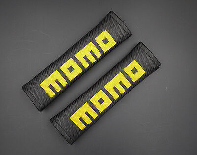 2 Momo Black Carbon Fiber Car Seat Belt Cover Shoulder Pad 051 AU Shipping