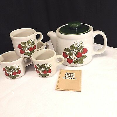 Vintage 1980 Nelson McCoy Strawberry Country Teapot & Mugs