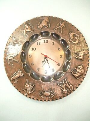 Wall clock copper polished signs zodiac