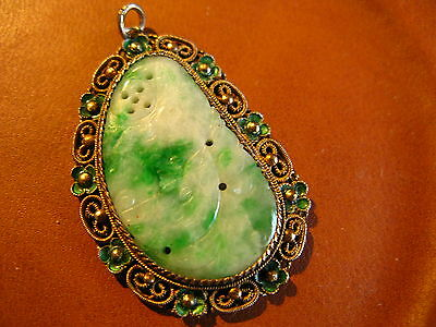 Vintage Chinese Carved Jade Gold Washed Silver Green Emamel Pendant