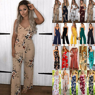 UK Summer Womens Sleeveless Floral Playsuit Ladies Romper Long Jumpsuit Trousers