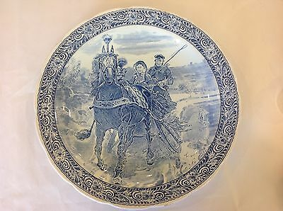 "Nice Blue Delfts Royal Sphinx Boch Belgium Horse & Carriage 15.5"" Charger Plate"