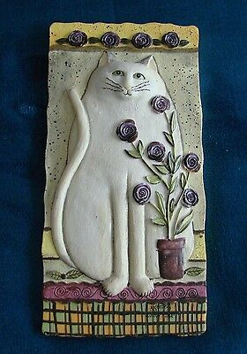 """3-D Sculptured """" SNOW ROSE"""" Cat Wall Plaques E. Smithson Signed"""
