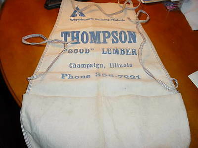 Vintage Carpenters full advertising Apron Weyerhaeuser and Thompson Lumber Co.