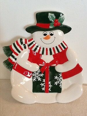 FITZ AND FLOYD ESSENTIALS *HOLIDAY SNOWMAN* Canape Plate