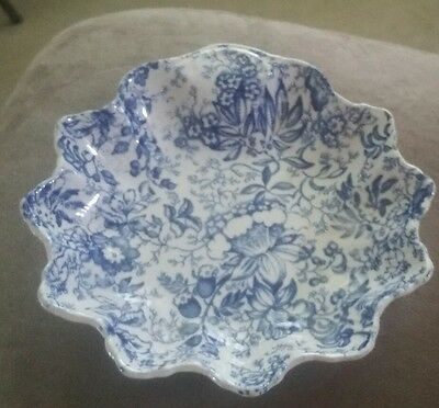 "Vintage Blue & White James Kent Old Foley Jewelry Dish 7"", #71 Made In England"