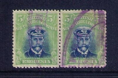Rhodesia Stamps,KGV Sc# 135 Perf.14 Used Pair  Cat.$200