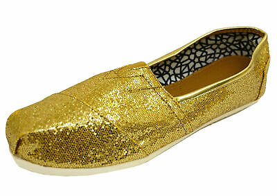Ladies Flat Gold Slip-On Glitter Holiday Comfy Espadrille Pumps Shoes Sizes 3-8