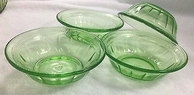 4 Federal Colonial Fluted Green Berry Dessert Small Bowls 4 1/2 ""