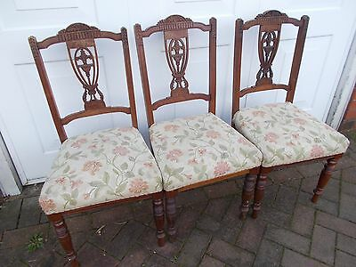 Chairs x 4. Edwardian dining chairs or side chairs. For restoration. Stylish.