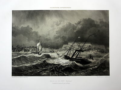 ca. 1870 Belle-Ile-en-Mer port Bretagne France estampe Lithographie lithograph