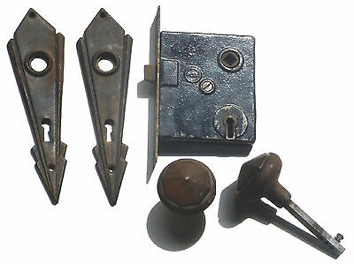 Vintage Art Deco Door Lock Set