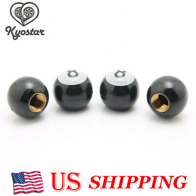"4 Pcs Universal Car Truck Bike /""Pool 8 Ball/"" Tire Valve Stem Caps Wheel Rims VG"