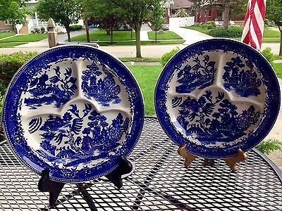 Vintage Moriyama Japan Blue Willow Divided Grill Plates (set of 2) 10.75 inches