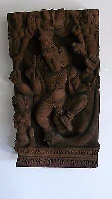 Large Vintage Heavily Carved Indian Wood Wall Hanging